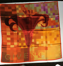 Givenchy Red Silk Pixilated Tiger Lily Scarf in Original Box