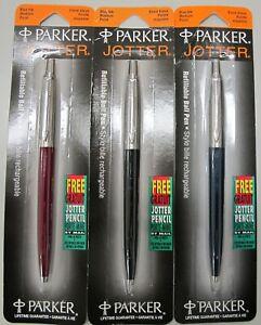 Parker Jotter  Set Ballpoint Black Blue Red 3 Pens Set Blue Ink New in Packs Usa