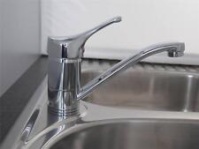 Kitchen sink bench mount flick mixer tap 165mm swivel spout chrome brass Ramtaps