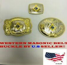 3 DIFFERENT STYLE COMBO GOLD AND SILVER WESTERN MASONIC SHINE COWBOY BELT BUCKLE