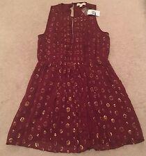 MICHAEL Michael Kors Womens Red Gold Silk Blend Sleeveless Above Knee Dress XL