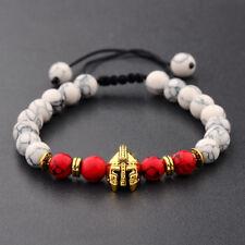 Men's Gold Spartan Helmet White Turquoise Red Agate Macrame Warrior Bracelets