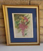 Vintage Original Painting MARY PORTER (b. 1868) Still Life Grapes on Vine 1956