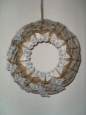Tür Schaufenster Landhaus Kranz Natur Weiß Schmetterling Mix rustikal /elegant