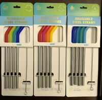 Steel Reusable Straws With Cleaning Brush Dishwasher Safe And Easy To Clean