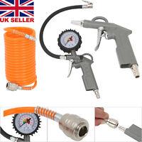 3PCS Tyre Pressure Inflator Blow-Gun Air Compressed and Tire  Valve Gauge Dial