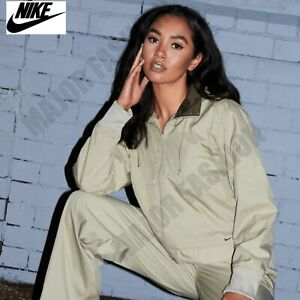 Ladies Womens Nike Beige Zip Up Hooded Jacket Hidden Hood Tracksuit Top XS S M L