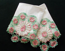 Vtg Hand Crpcheted Pink Cabbage Roses w/Variegated Green Trim-Handmade Cases