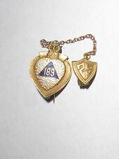 enamel lapel pin Psm 189 Antique 1929 10K solid gold owl
