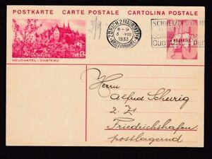 Switzerland 20h Neuchatel illus 20h stationery card used 1933
