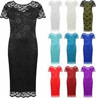 Women Plus Vintage Smart Party Floral Lace Scallop Midi Dress Size 16-28