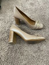Nine West Sylviah Chunky Heel Pumps Leather Beige Square Toe Shoes Heels Size 10