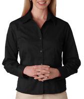 UltraClub Women's Peached Finish Spread Collar Long Sleeve Primo Shirt. 8976