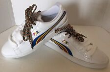 New Puma Dee And Ricky White Faux Leather Women Shoes 10 Whimsical Coloured Logo