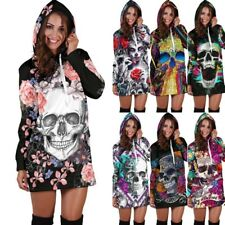 UK Women Skull Floral Sweatshirt Long Sleeve Sweater Hoodies Jumper Winter Dress