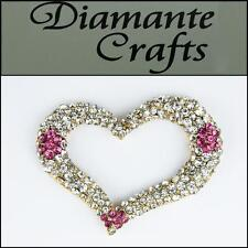 3D Heart Gold Alloy Encrusted in Clear & Pink Diamante Kawaii Cabochon - 3HT2013