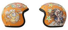 Casco Jet DMD Vintage Rock n Roll Orange Omologato ECE Taglia XS 53-54 Cm