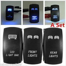 3×5-Pins Front&Rear&LED Light Laser Rocker Backlit Blue Switch For Car SUV UTV