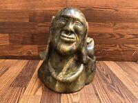 "5.25"" High Inuit Eskimo Serpentine Soapstone Bust Carving Signed ᐅᒪᓗ"