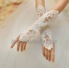 FABULOUS WHITE SATIN & LACE FINGERLESS EVENING BRIDAL GLOVES BRAND NEW!!!