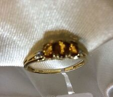 1/2 Ct, Madeira Citrine Ring, 14K Gold On Sterling Silver, Sizes M, Q, Or O