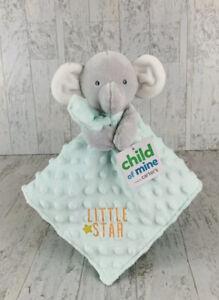 Carter's Green Elephant Lovey LITTLE STAR Security Blanket satin minky dot NWT