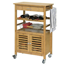 SoBuy® Bamboo Kitchen Trolley Storage Cart Cabinet with Louvre Doors,FKW53-N,UK