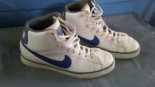 Nike High Top basketball Shoes Size 9 white blue.