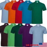 Men Man Plain Cotton Pique Collar   Sports Shirt No Logo T-shirt USA