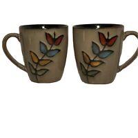 "Sango Coffee Cup Mug 4"" Flora Black 4750 Taupe Vines Black Interior Set Of 2"