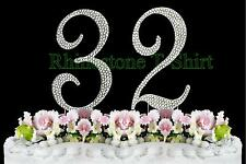 Large Rhinestone NUMBER (32) Cake Topper 32th Birthday Wedding Party Anniversary