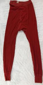 Vtg Setsnug Long Johns Underwear Base Layer Mens Medium Red Wool Blend Antique