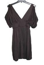 Double Zero - Women's S - Brown Jersey Knit Cold Shoulder Roman Tunic Dress