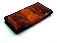 Brown Alligator Crocodile Genuine Back Leather Men Long Bi-fold Hemstitch Wallet