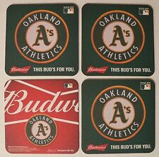 4 Budweiser Oakland A's Athletics Beer Coasters Pub Bar Mat Brewing