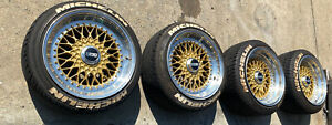 """GENUINE BBS RS GOLD 5 Stud Wheels 3 Piece 17"""" Set With Tyres ~ 5 x 114.3"""