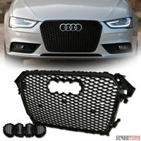 For 13+ Audi A4 B8.5 Euro Blk RS Honeycomb Mesh Front Bumper Grill Grille Cover