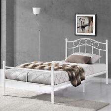 Lit en Métal 120x200 Blanc Châlit Lit Chambre à Coucher Lit pour Jeunes