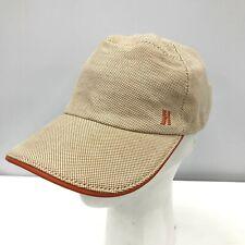 Hermes Men's Baseball Cap Beige Brown Orange Trim Adjustable Hat Cotton 261053