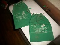 (2) VTG CLOTH DRAW STRING MONEY BAGS HERKIMER COUNTY TRUST LITTLE FALLS,N.Y.