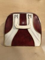 Vintage Single Bowling Ball Bag with Rack for Shoes Red White No tags