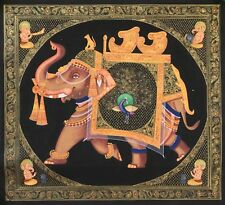 Indian Ganesha Elephant Peacock Decor Art Handmade Miniature Rajasthan Painting