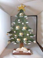 Hand crafted contemporary wood folk art Xmas Snowman jingle bells tree