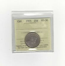 **1905**, ICCS Graded Canadian, 25 Cent, **VF-30**