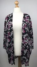 Long tall sally 12 kimono style open front light weight jacket black pink floral