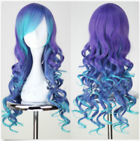 Women Long Wavy Synthetic Cosplay Costume Full Wig Ombre Wigs Heat Resistant Wig