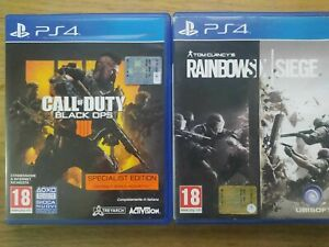 PS4 LOTTO 2 GIOCHI CALL OF DUTY BLACK OPS 4 SPECIALIST EDITION RAINBOWSIX SIEGE