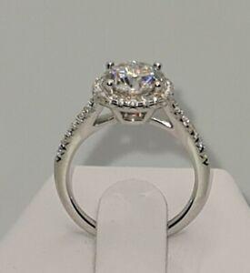 925 STERLING SILVER 18K WHITE GOLD 1.5CT MOISSANITE DIAMOND HALO RING