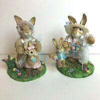 Easter Bunny Rabbits Handmade Painted Craft Holiday Ceramic Figurine Lot of 2