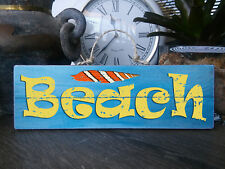"""""""BEACH"""" - Wooden Rustic BEACH Plaque / Sign (NEW) FREE POST"""